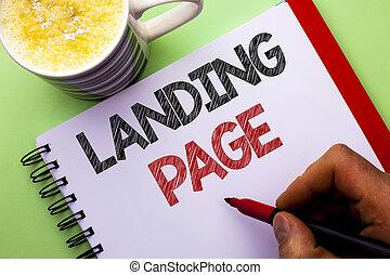 palabra, escritura, texto, aterrizaje, page., concepto de la corporación mercantil, para, sitio web, accessed, por, hacer clic, un, enlace, en, otro, página web, escrito, por, hombre, en, cuaderno, libro, tenencia, marcador, en, el, llanura, plano de fondo, taza para café