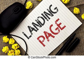 palabra, escritura, texto, aterrizaje, page., concepto de la corporación mercantil, para, sitio web, accessed, por, hacer clic, un, enlace, en, otro, página web, escrito, en, papel cuaderno, en, el, yute, plano de fondo, marcador, y, ratón, al lado de, it.