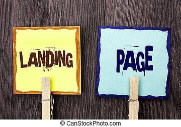 palabra, escritura, texto, aterrizaje, page., concepto de la corporación mercantil, para, sitio web, accessed, por, hacer clic, un, enlace, en, otro, página web, escrito, en, nota pegajosa, papeles, tenencia, con, de madera, clip, en, el, de madera, fondo.