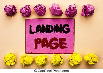 palabra, escritura, texto, aterrizaje, page., concepto de la corporación mercantil, para, sitio web, accessed, por, hacer clic, un, enlace, en, otro, página web, escrito, en, rosa, nota pegajosa, papel, en, el, llanura, plano de fondo, papel, balls.