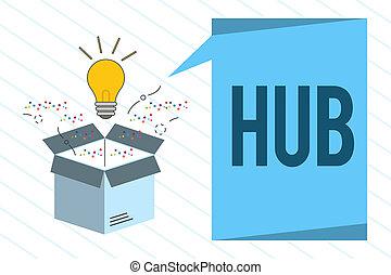 palabra, escritura, texto, hub., concepto de la corporación mercantil, para, el, eficaz, centro, de, un, actividad, región, y, red, central, parte