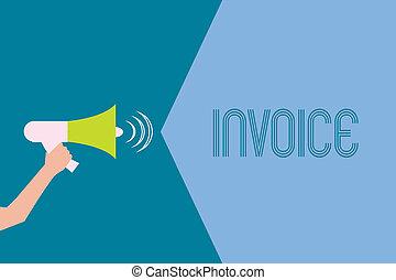 palabra, escritura, texto, invoice., concepto de la corporación mercantil, para, lista, de, bienes, enviado, servicios, proporcionado, con, sumas, estado financiero