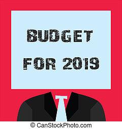 palabra, escritura, texto, presupuesto, para, 2019., concepto de la corporación mercantil, para, un, escrito, estimates, de, ingresos, y, gasto, para, 2019