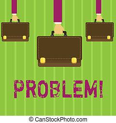 palabra, escritura, texto, problem., concepto de la corporación mercantil, para, problema, eso, necesidad, a, ser, solucionado, situación difícil, complication.