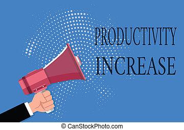 palabra, escritura, texto, productividad, increase., concepto de la corporación mercantil, para, conseguir, más, cosas, hecho, producción, por, unidad, de, producto, entrada