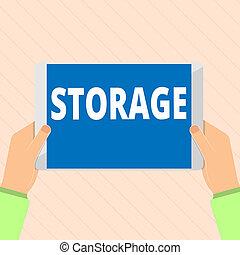 palabra, escritura, texto, storage., concepto de la corporación mercantil, para, acción, de, almacenamiento, algo, para, futuro, uso, retener, cosas, seguro