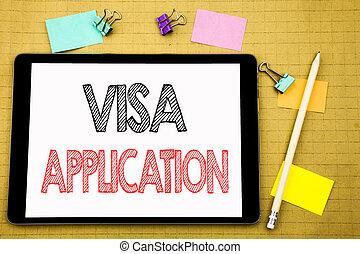 palabra, escritura, visa, application., concepto de la corporación mercantil, para, pasaporte, aplicar, escrito, en, tableta, computador portatil, de madera, plano de fondo, con, nota pegajosa, y, pluma
