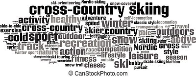 palabra, -, esquí, campo través, horizontal, nube