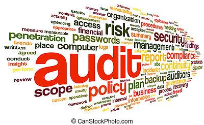palabra, etiqueta, conformidad, nube, auditoría