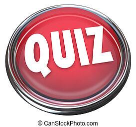 palabra, examen, botón, examen, prueba, evaluación, rojo