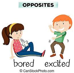 palabra, excitado, contrario, aburrido