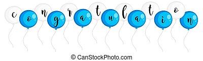 palabra, felicitación, en, azul y blanco, globos
