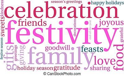 palabra, festividad, nube