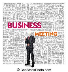 palabra, finanzas, concepto de la corporación mercantil, reunión, nube