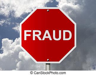 palabra, fraude, parar la muestra