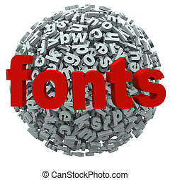 palabra, fuentes, cartas, tipografía, esfera