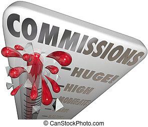 palabra, ganado, dinero, termómetro, ventas, comisiones, medida