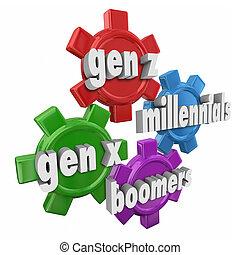 palabra, generación, demographics, millennials, engranajes, x, y, boomers, z, 3d