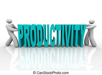 palabra, gente, -, juntos, empujón, productividad