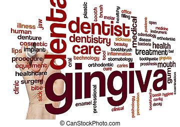 palabra, gingiva, nube