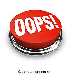 palabra, grande, botón, oops, correcto, rojo, error