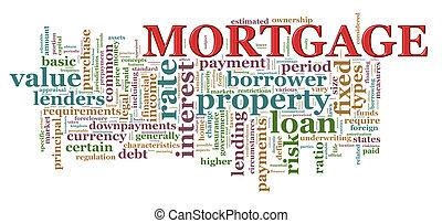 palabra, hipoteca, etiquetas