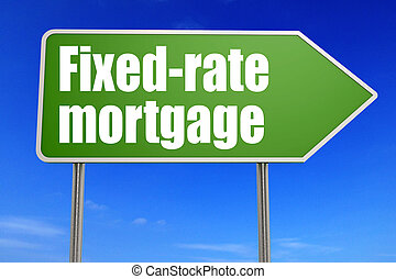 palabra, hipoteca, fixed-rate, muestra del camino, verde