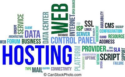 palabra, -, hosting, nube, tela
