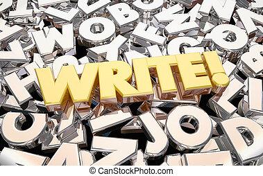 palabra, ideas, escritura, escribir, animación, cartas, 3d