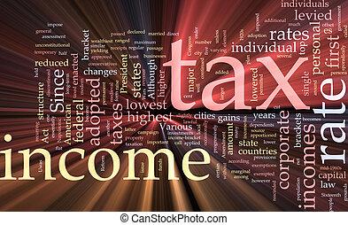 palabra, impuesto, nube, ingresos, encendido