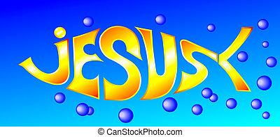 palabra, incrustados, pez, él, ilustración, jesús
