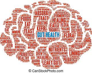 palabra, intestino, salud, nube