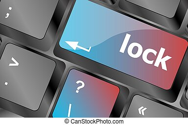 palabra, intimidad, cerradura, botón, teclado, ilustración, keys., vector, entrar, computadora, concept: