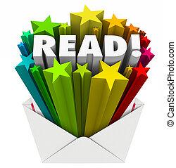 palabra, leer, sobre, acción, tenerun alcance mayor que, estrellas, mensaje, envío