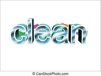 palabra, limpio, en, 3d, blanco