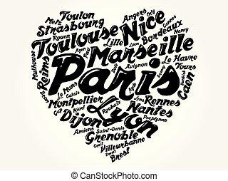 palabra, lista, francia, pueblos, ciudades, nube