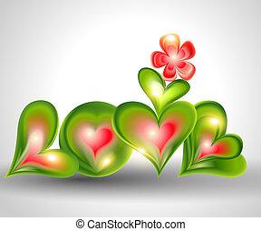 "palabra, ""love"", con, corazones"