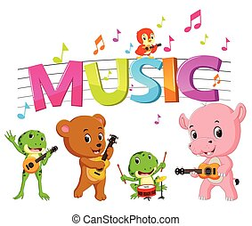 palabra, música, juego, animal