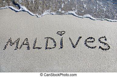 palabra, maldivas, contorno, arena