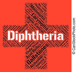 palabra, medios, corynebacterium, diphtheria, aflicción, diphtheriae