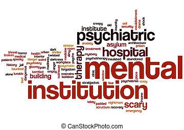palabra, mental, nube, institución