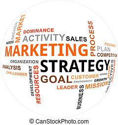 palabra, mercadotecnia, -, nube, estrategia
