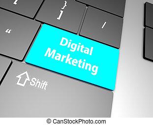 palabra, mercadotecnia, teclado, interpretación, computadora, publicidad, digital, concept:, 3d