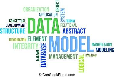 palabra, modelo,  -, nube, datos