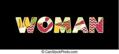 palabra, mujer, concepto, arte, ilustración