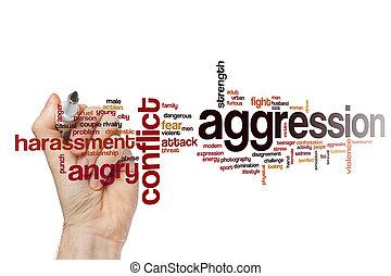 palabra, nube, agresión