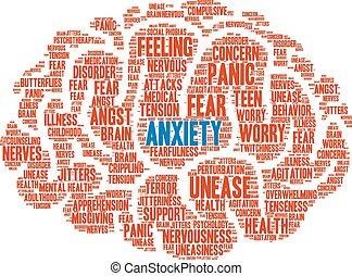 palabra, nube, ansiedad
