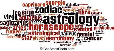 palabra, nube, astrología