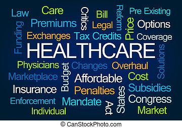 palabra, nube, atención sanitaria
