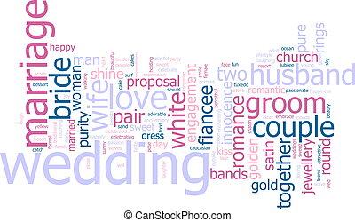 palabra, nube, boda